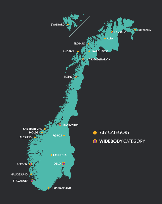 Map of Norway and airports and 434/widebody categories