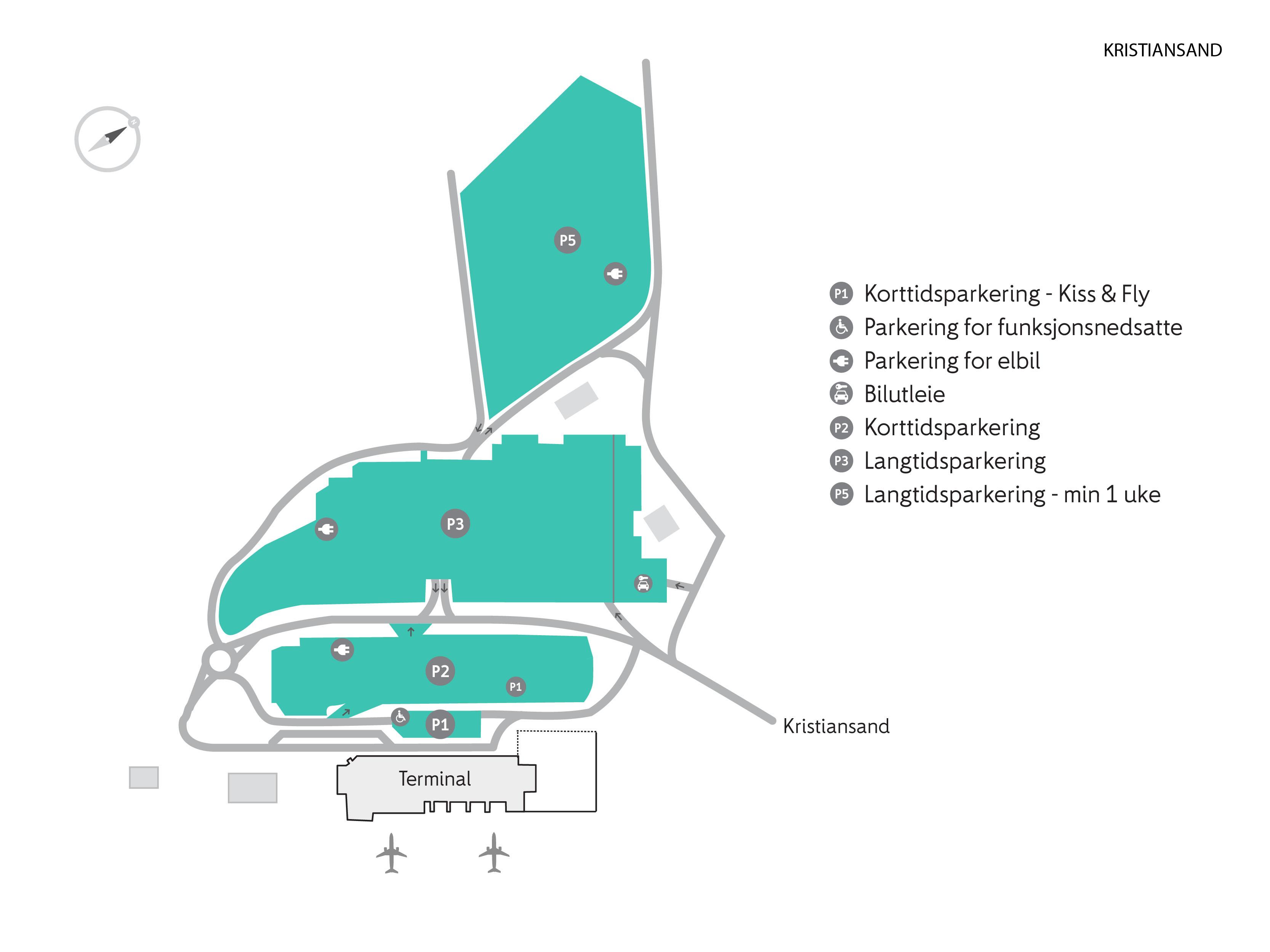 kart over oslo lufthavn P områdene   Kristiansand lufthavn   Avinor kart over oslo lufthavn